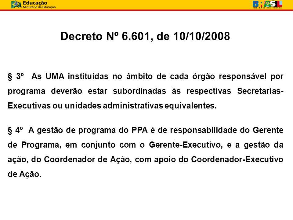 § 3º As UMA instituídas no âmbito de cada órgão responsável por programa deverão estar subordinadas às respectivas Secretarias- Executivas ou unidades