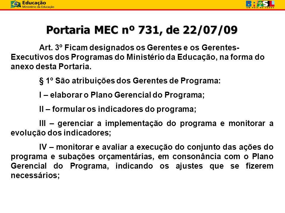 Portaria MEC nº 731, de 22/07/09 Art. 3º Ficam designados os Gerentes e os Gerentes- Executivos dos Programas do Ministério da Educação, na forma do a