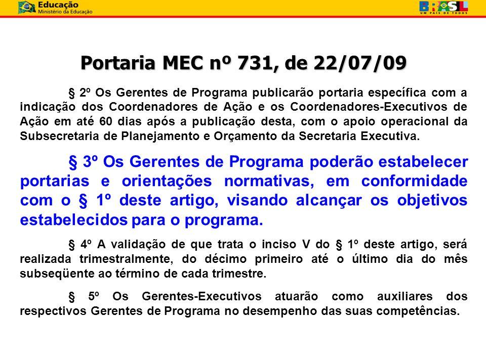 Portaria MEC nº 731, de 22/07/09 § 2º Os Gerentes de Programa publicarão portaria específica com a indicação dos Coordenadores de Ação e os Coordenado