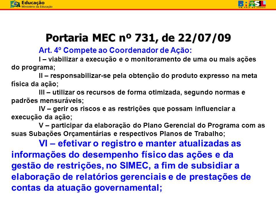 Portaria MEC nº 731, de 22/07/09 Art. 4º Compete ao Coordenador de Ação: I – viabilizar a execução e o monitoramento de uma ou mais ações do programa;