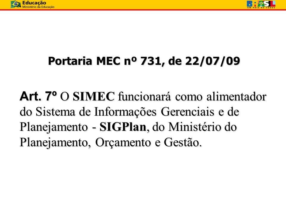 Portaria MEC nº 731, de 22/07/09 Art. 7º O SIMEC funcionará como alimentador do Sistema de Informações Gerenciais e de Planejamento - SIGPlan, do Mini