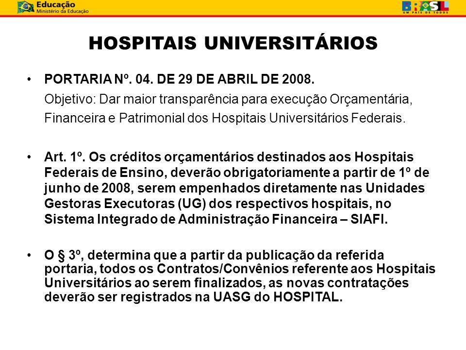 HOSPITAIS UNIVERSITÁRIOS PORTARIA Nº. 04. DE 29 DE ABRIL DE 2008. Objetivo: Dar maior transparência para execução Orçamentária, Financeira e Patrimoni
