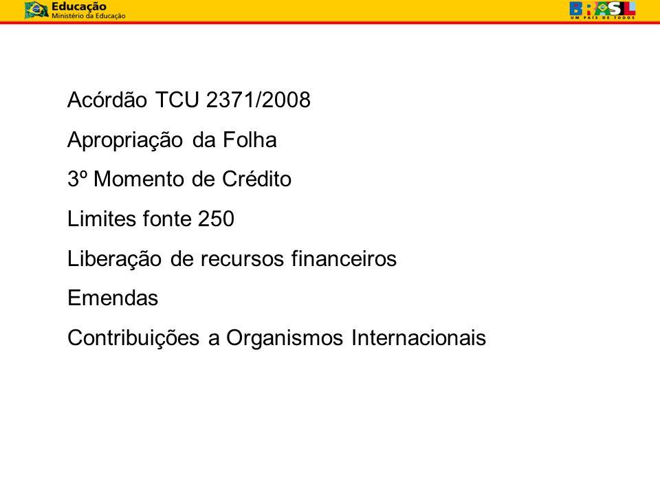 Acórdão TCU 2371/2008 Apropriação da Folha 3º Momento de Crédito Limites fonte 250 Liberação de recursos financeiros Emendas Contribuições a Organismo