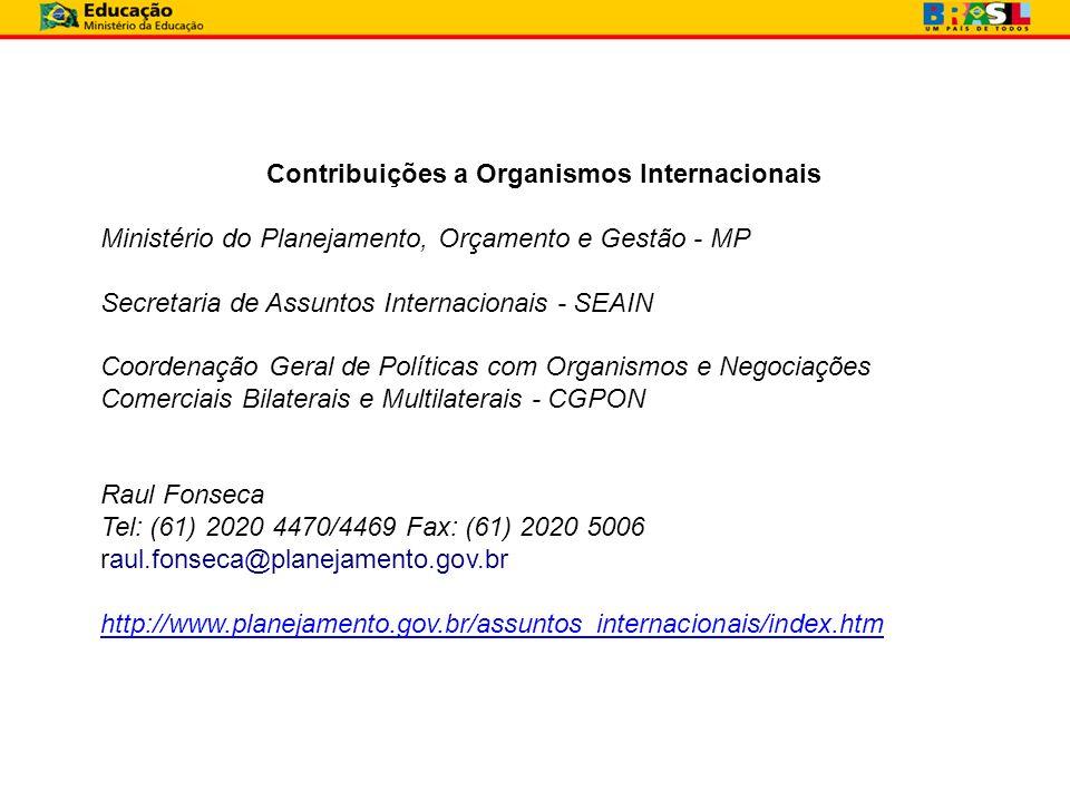 Ministério do Planejamento, Orçamento e Gestão - MP Secretaria de Assuntos Internacionais - SEAIN Coordenação Geral de Políticas com Organismos e Nego