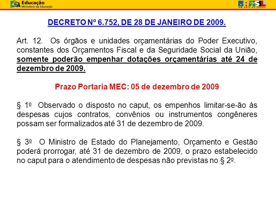 DECRETO Nº 6.752, DE 28 DE JANEIRO DE 2009. Art. 12. Os órgãos e unidades orçamentárias do Poder Executivo, constantes dos Orçamentos Fiscal e da Segu