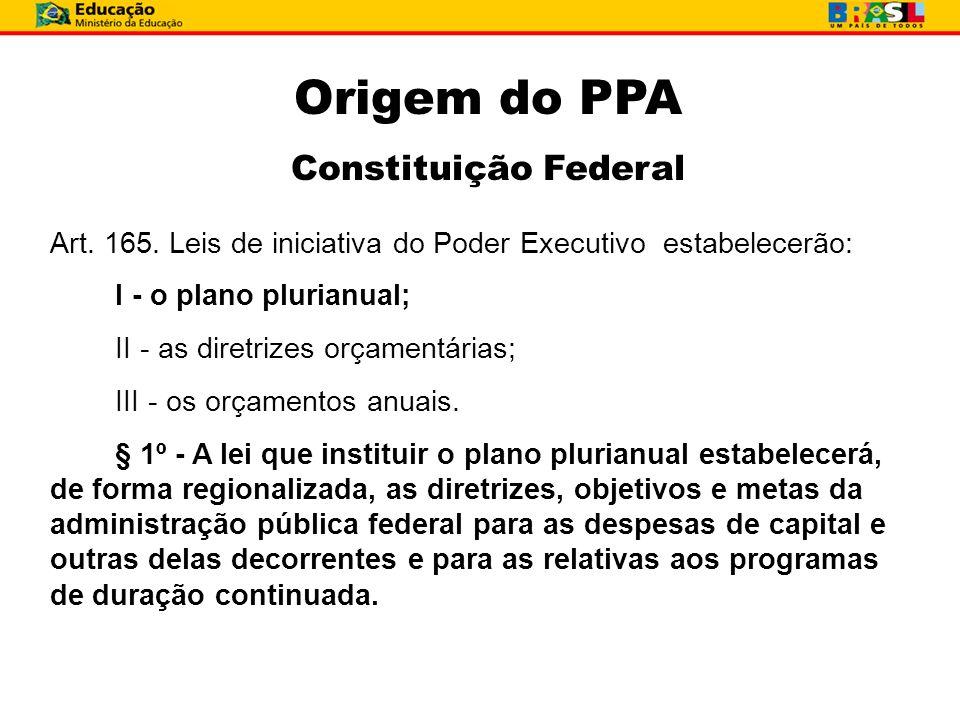 Art. 165. Leis de iniciativa do Poder Executivo estabelecerão: I - o plano plurianual; II - as diretrizes orçamentárias; III - os orçamentos anuais. §