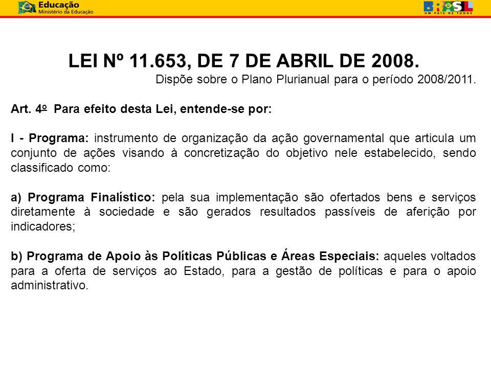 LEI Nº 11.653, DE 7 DE ABRIL DE 2008. Dispõe sobre o Plano Plurianual para o período 2008/2011. Art. 4 o Para efeito desta Lei, entende-se por: I - Pr