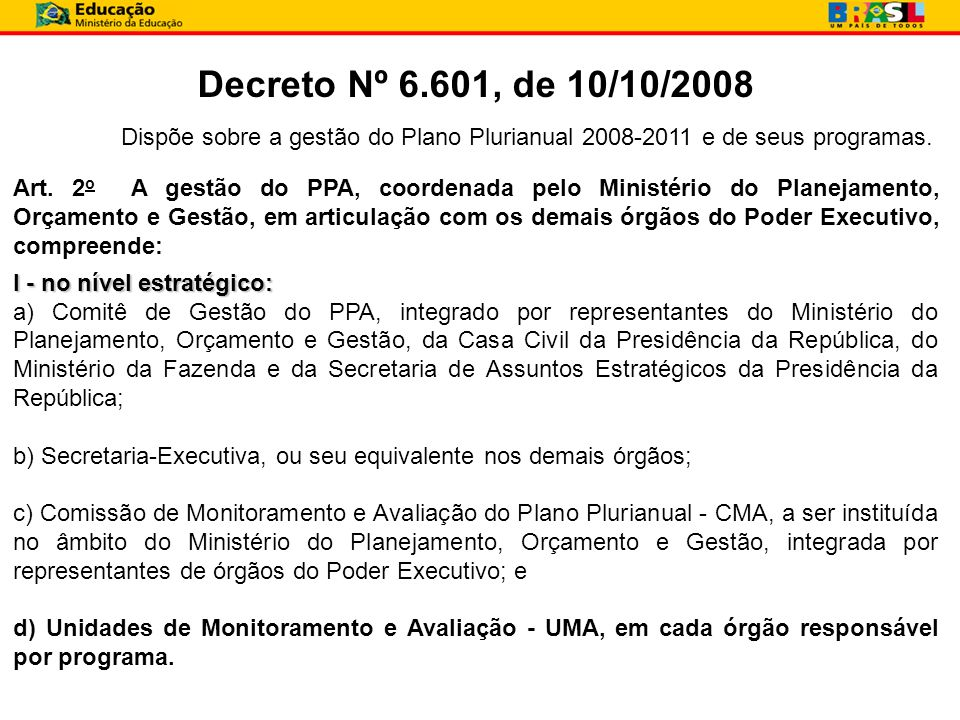 Decreto Nº 6.601, de 10/10/2008 Dispõe sobre a gestão do Plano Plurianual 2008-2011 e de seus programas. Art. 2 o A gestão do PPA, coordenada pelo Min