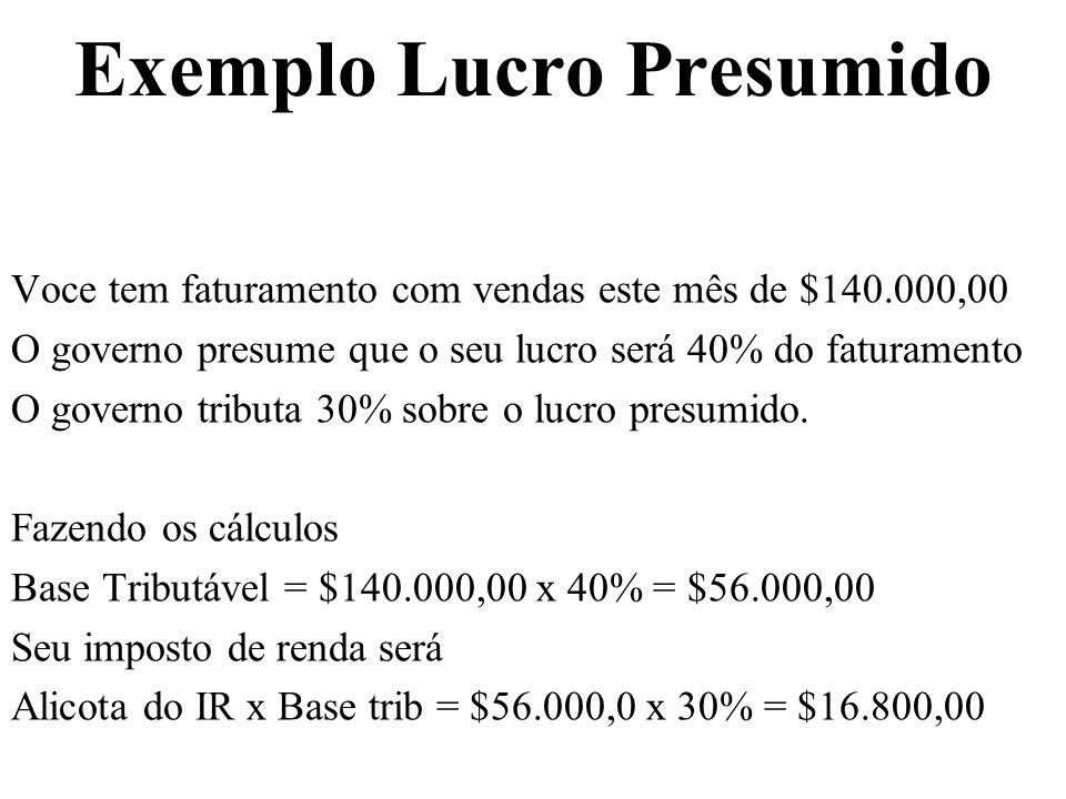 Exemplo Lucro Presumido Voce tem faturamento com vendas este mês de $140.000,00 O governo presume que o seu lucro será 40% do faturamento O governo tr