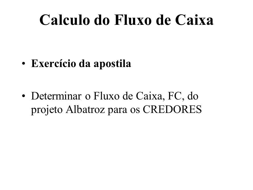 Calculo do Fluxo de Caixa Exercício da apostila Determinar o Fluxo de Caixa, FC, do projeto Albatroz para os CREDORES