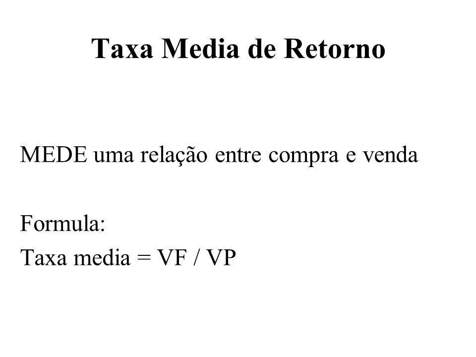 Taxa Media de Retorno MEDE uma relação entre compra e venda Formula: Taxa media = VF / VP