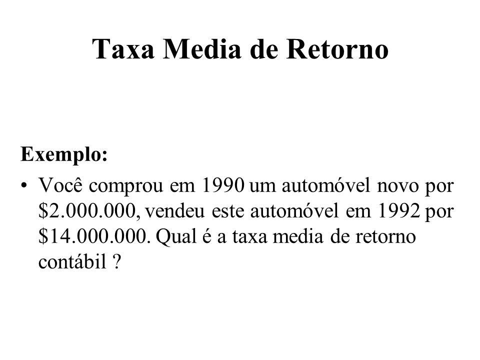 Taxa Media de Retorno Exemplo: Você comprou em 1990 um automóvel novo por $2.000.000, vendeu este automóvel em 1992 por $14.000.000. Qual é a taxa med