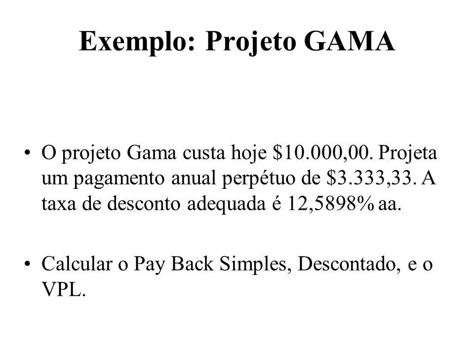 Exemplo: Projeto GAMA O projeto Gama custa hoje $10.000,00. Projeta um pagamento anual perpétuo de $3.333,33. A taxa de desconto adequada é 12,5898% a