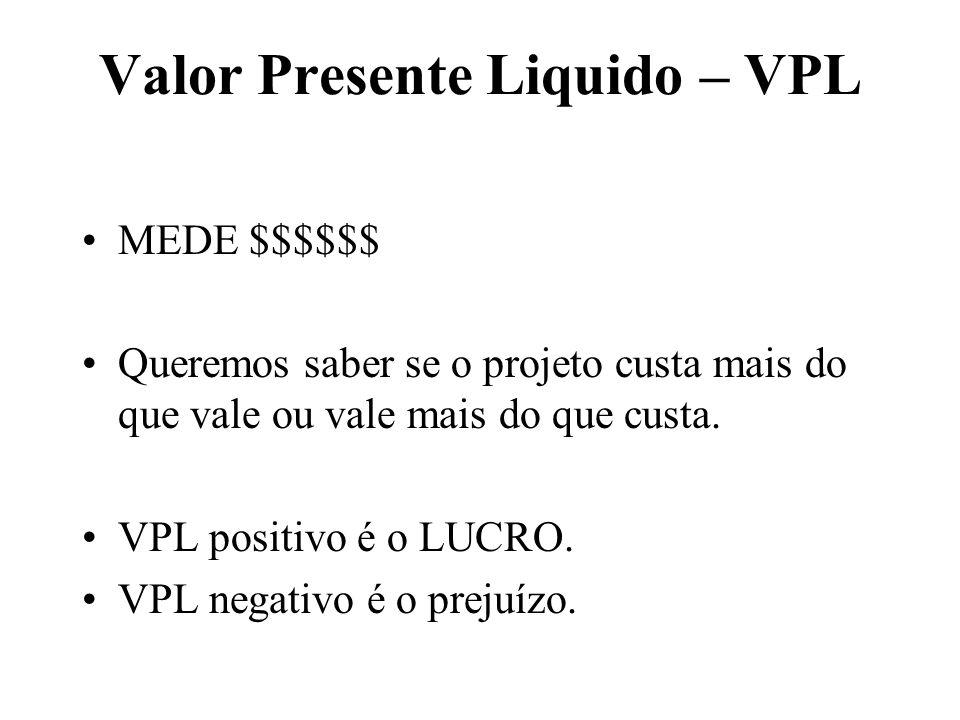 Valor Presente Liquido – VPL MEDE $$$$$$ Queremos saber se o projeto custa mais do que vale ou vale mais do que custa. VPL positivo é o LUCRO. VPL neg