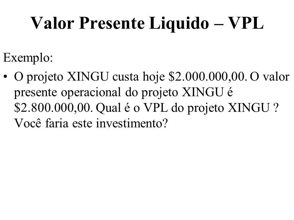 Valor Presente Liquido – VPL Exemplo: O projeto XINGU custa hoje $2.000.000,00. O valor presente operacional do projeto XINGU é $2.800.000,00. Qual é