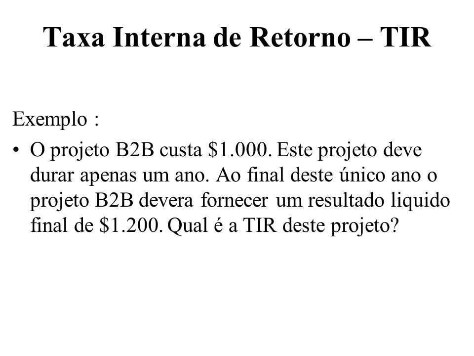 Taxa Interna de Retorno – TIR Exemplo : O projeto B2B custa $1.000. Este projeto deve durar apenas um ano. Ao final deste único ano o projeto B2B deve