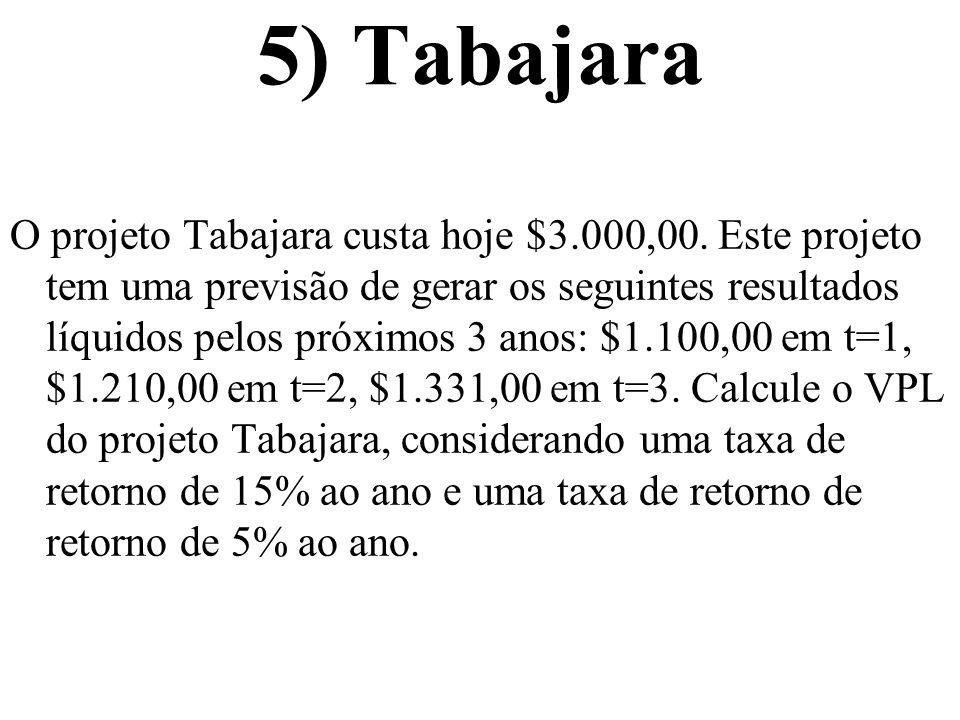 5) Tabajara O projeto Tabajara custa hoje $3.000,00. Este projeto tem uma previsão de gerar os seguintes resultados líquidos pelos próximos 3 anos: $1