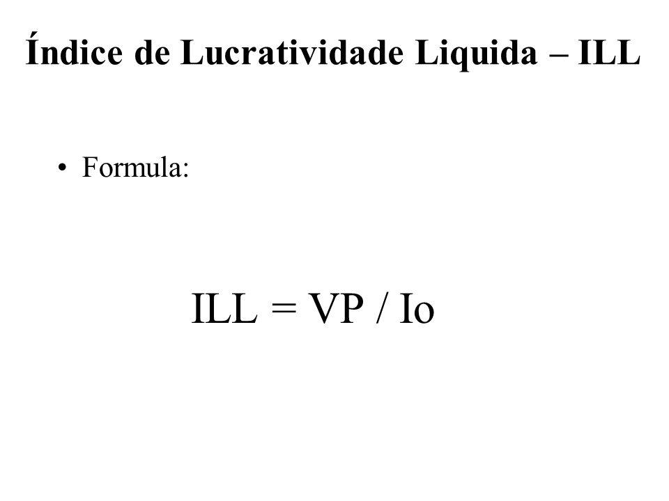 Índice de Lucratividade Liquida – ILL Formula: ILL = VP / Io