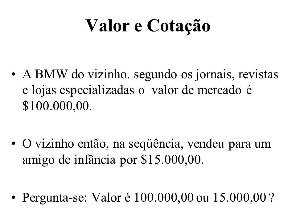 Valor e Cotação A BMW do vizinho. segundo os jornais, revistas e lojas especializadas o valor de mercado é $100.000,00. O vizinho então, na seqüência,