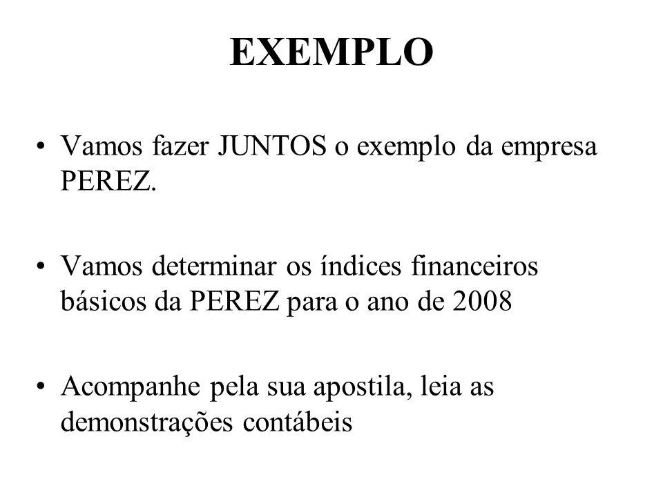 EXEMPLO Vamos fazer JUNTOS o exemplo da empresa PEREZ. Vamos determinar os índices financeiros básicos da PEREZ para o ano de 2008 Acompanhe pela sua