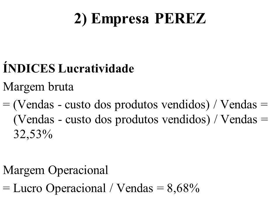 2) Empresa PEREZ ÍNDICES Lucratividade Margem bruta = (Vendas - custo dos produtos vendidos) / Vendas = (Vendas - custo dos produtos vendidos) / Venda