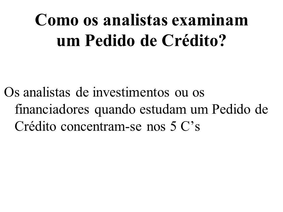 Como os analistas examinam um Pedido de Crédito? Os analistas de investimentos ou os financiadores quando estudam um Pedido de Crédito concentram-se n