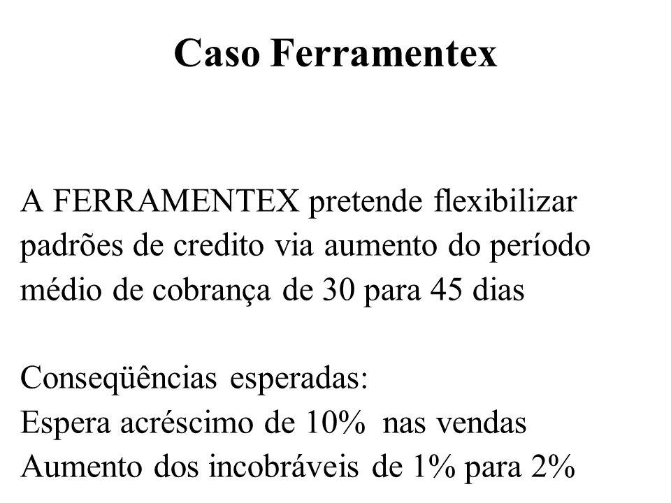 Caso Ferramentex A FERRAMENTEX pretende flexibilizar padrões de credito via aumento do período médio de cobrança de 30 para 45 dias Conseqüências espe