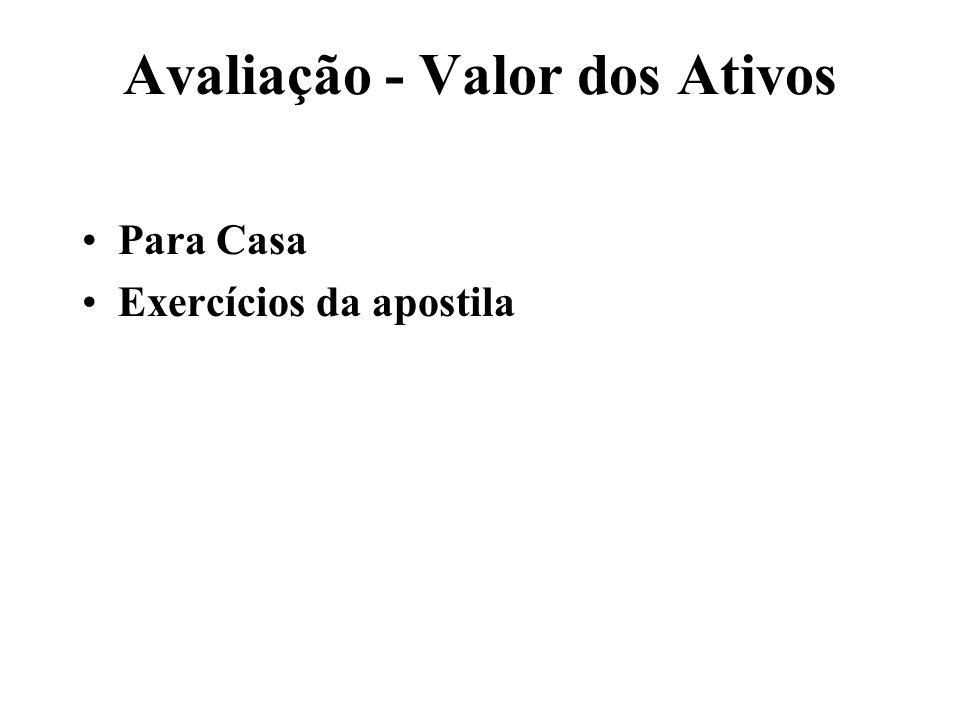 Avaliação - Valor dos Ativos Para Casa Exercícios da apostila