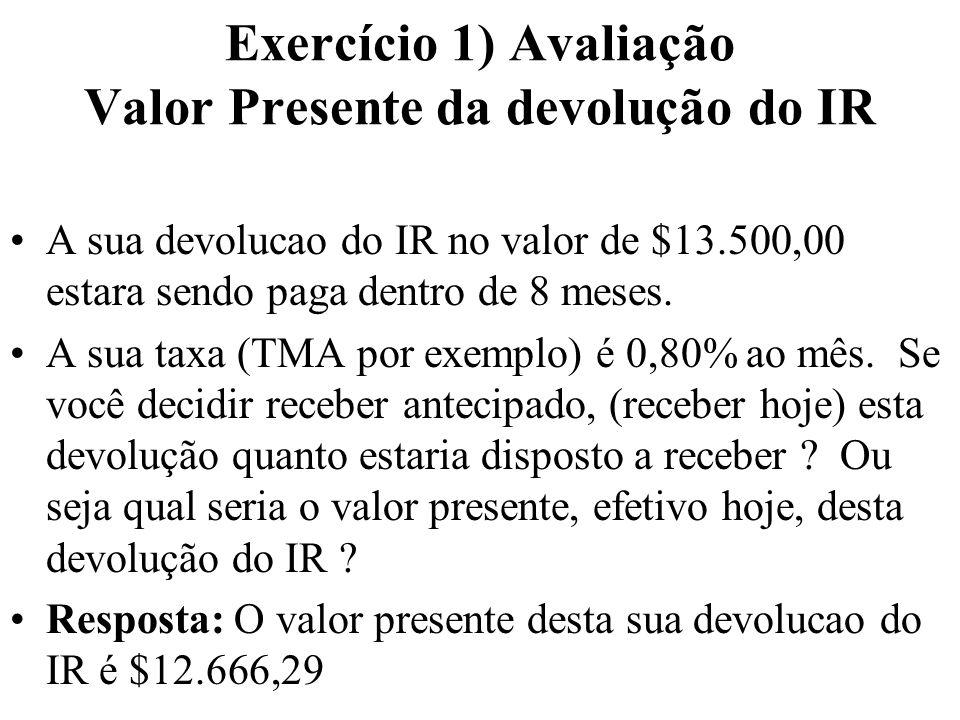 Exercício 1) Avaliação Valor Presente da devolução do IR A sua devolucao do IR no valor de $13.500,00 estara sendo paga dentro de 8 meses. A sua taxa