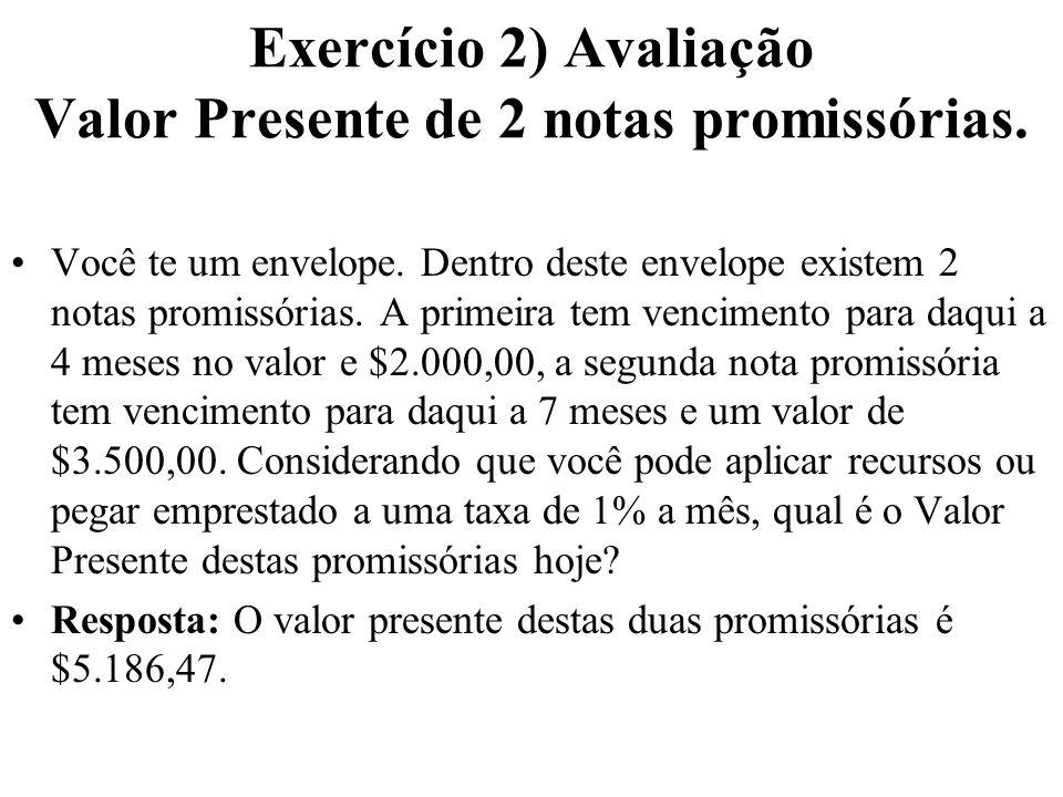 Exercício 2) Avaliação Valor Presente de 2 notas promissórias. Você te um envelope. Dentro deste envelope existem 2 notas promissórias. A primeira tem
