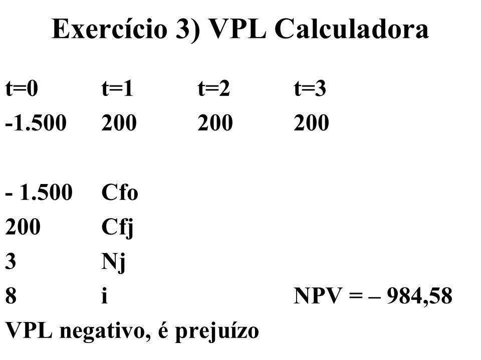 Exercício 3) VPL Calculadora t=0t=1t=2t=3 -1.500200200200 - 1.500 Cfo 200 Cfj 3 Nj 8 i NPV = – 984,58 VPL negativo, é prejuízo