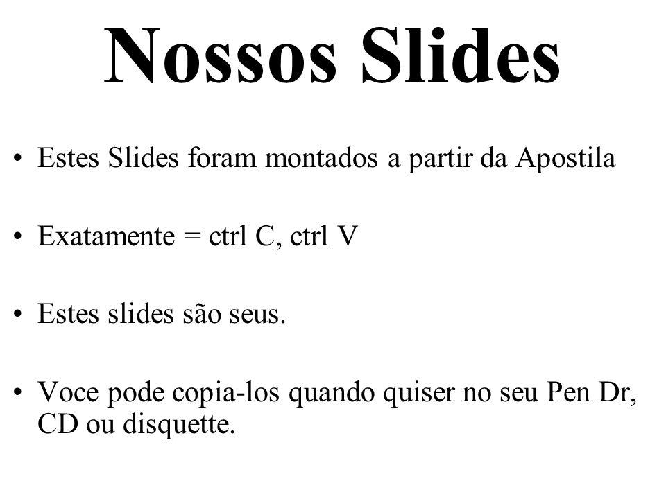 Nossos Slides Estes Slides foram montados a partir da Apostila Exatamente = ctrl C, ctrl V Estes slides são seus. Voce pode copia-los quando quiser no