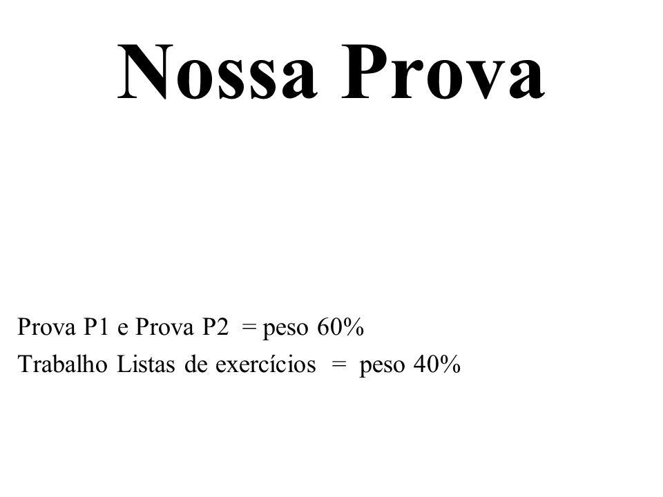 Nossa Prova Prova P1 e Prova P2 = peso 60% Trabalho Listas de exercícios = peso 40%
