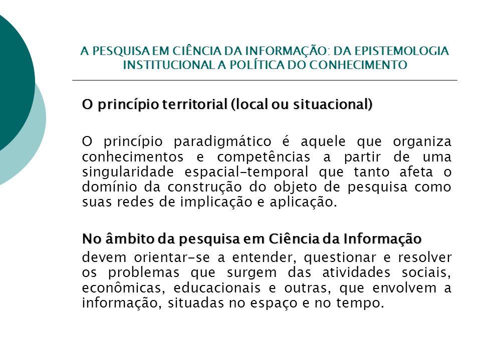 A PESQUISA EM CIÊNCIA DA INFORMAÇÃO: DA EPISTEMOLOGIA INSTITUCIONAL A POLÍTICA DO CONHECIMENTO O princípio territorial (local ou situacional) O princí