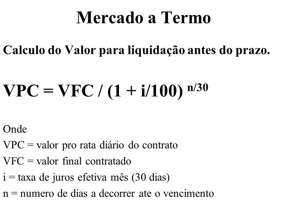 Mercado a Termo Calculo do Valor para liquidação antes do prazo.