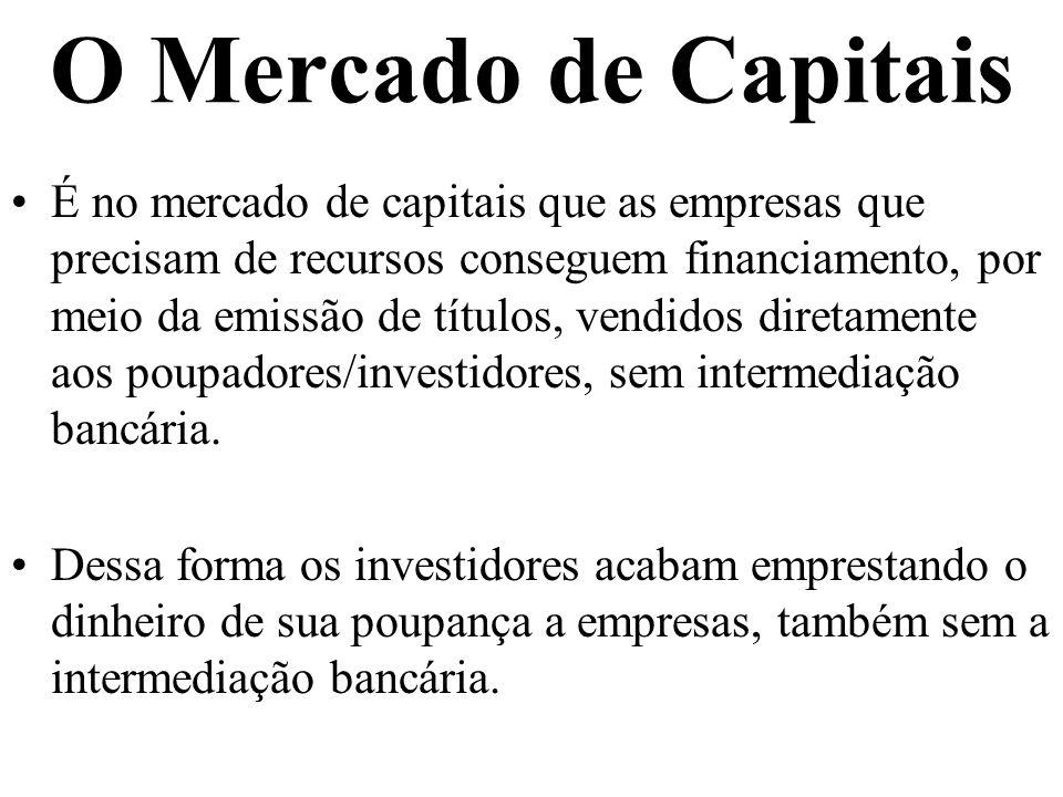 O Mercado de Capitais É no mercado de capitais que as empresas que precisam de recursos conseguem financiamento, por meio da emissão de títulos, vendidos diretamente aos poupadores/investidores, sem intermediação bancária.