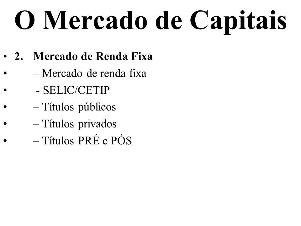 O Mercado de Capitais 2.Mercado de Renda Fixa – Mercado de renda fixa - SELIC/CETIP – Títulos públicos – Títulos privados – Títulos PRÉ e PÓS