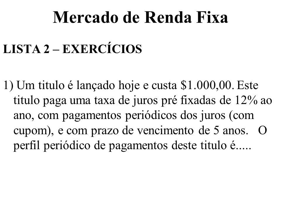 Mercado de Renda Fixa LISTA 2 – EXERCÍCIOS 1) Um titulo é lançado hoje e custa $1.000,00.