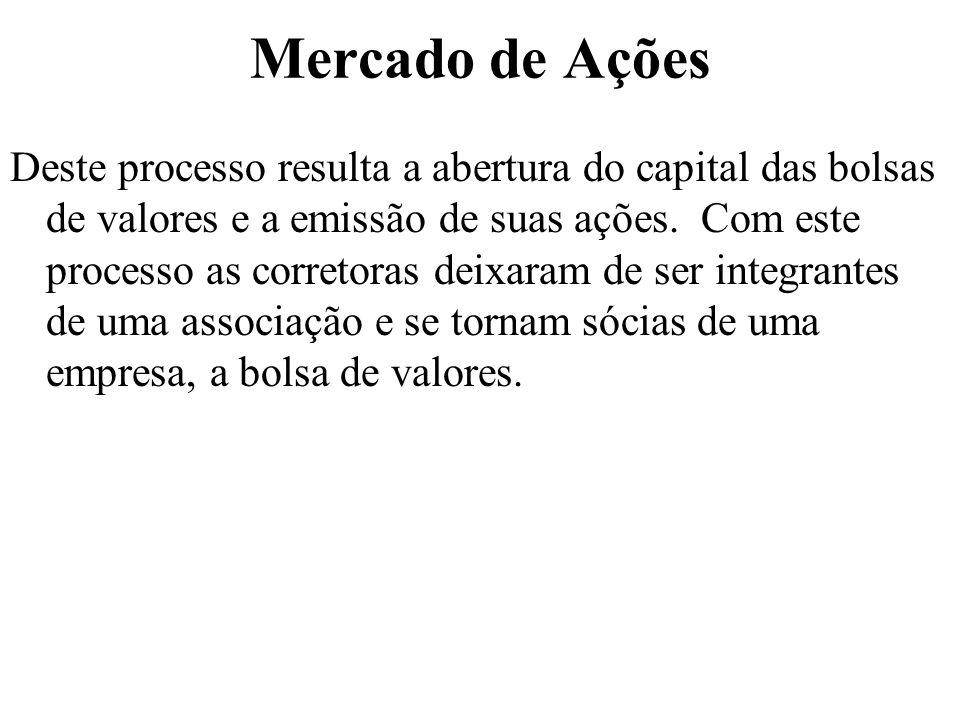 Mercado de Ações Deste processo resulta a abertura do capital das bolsas de valores e a emissão de suas ações.