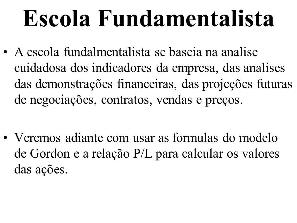 Escola Fundamentalista A escola fundalmentalista se baseia na analise cuidadosa dos indicadores da empresa, das analises das demonstrações financeiras, das projeções futuras de negociações, contratos, vendas e preços.
