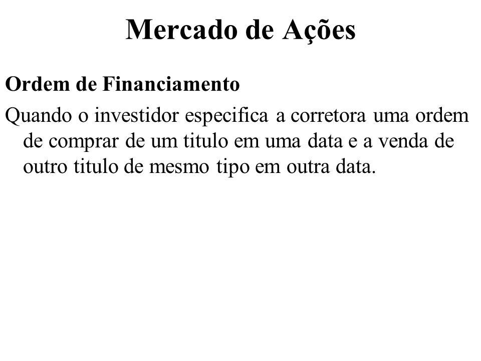 Mercado de Ações Ordem de Financiamento Quando o investidor especifica a corretora uma ordem de comprar de um titulo em uma data e a venda de outro titulo de mesmo tipo em outra data.