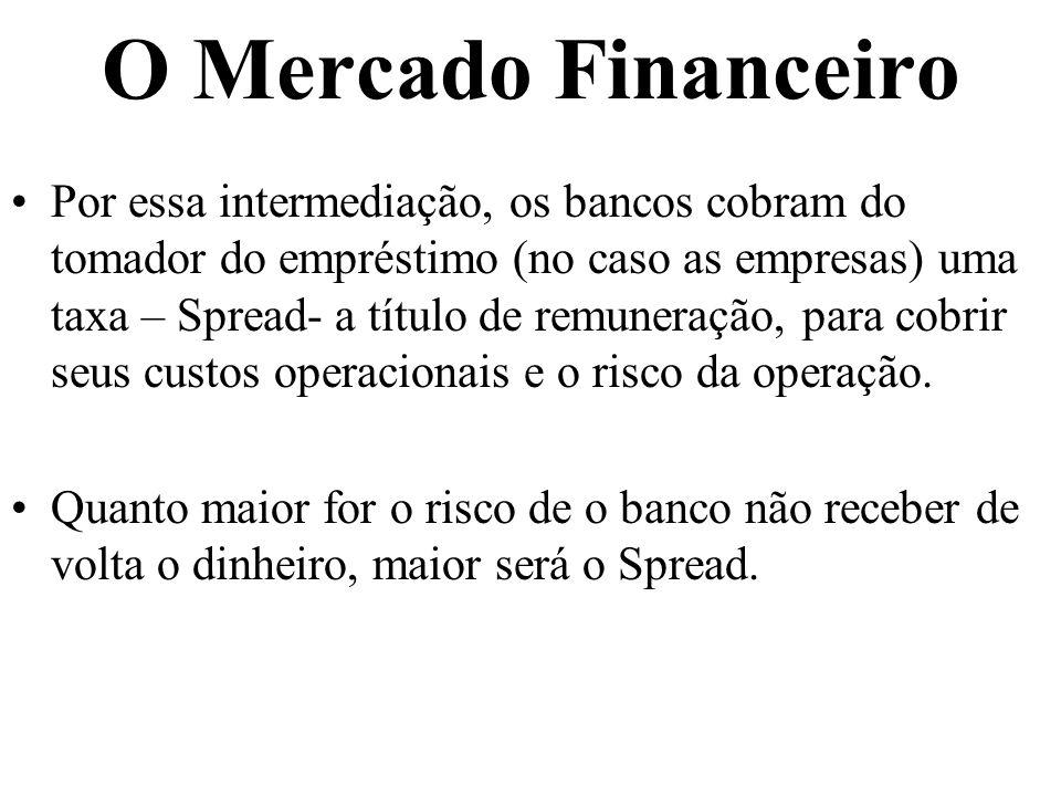 O Mercado Financeiro Por essa intermediação, os bancos cobram do tomador do empréstimo (no caso as empresas) uma taxa – Spread- a título de remuneração, para cobrir seus custos operacionais e o risco da operação.