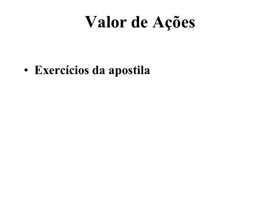 Valor de Ações Exercícios da apostila