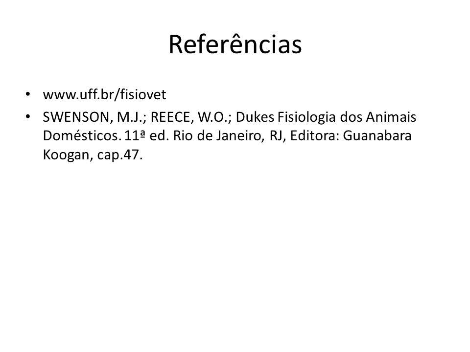 Referências www.uff.br/fisiovet SWENSON, M.J.; REECE, W.O.; Dukes Fisiologia dos Animais Domésticos. 11ª ed. Rio de Janeiro, RJ, Editora: Guanabara Ko