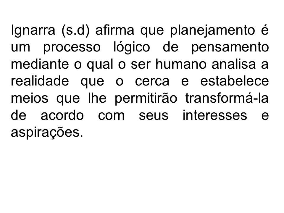 Ignarra (s.d) afirma que planejamento é um processo lógico de pensamento mediante o qual o ser humano analisa a realidade que o cerca e estabelece mei