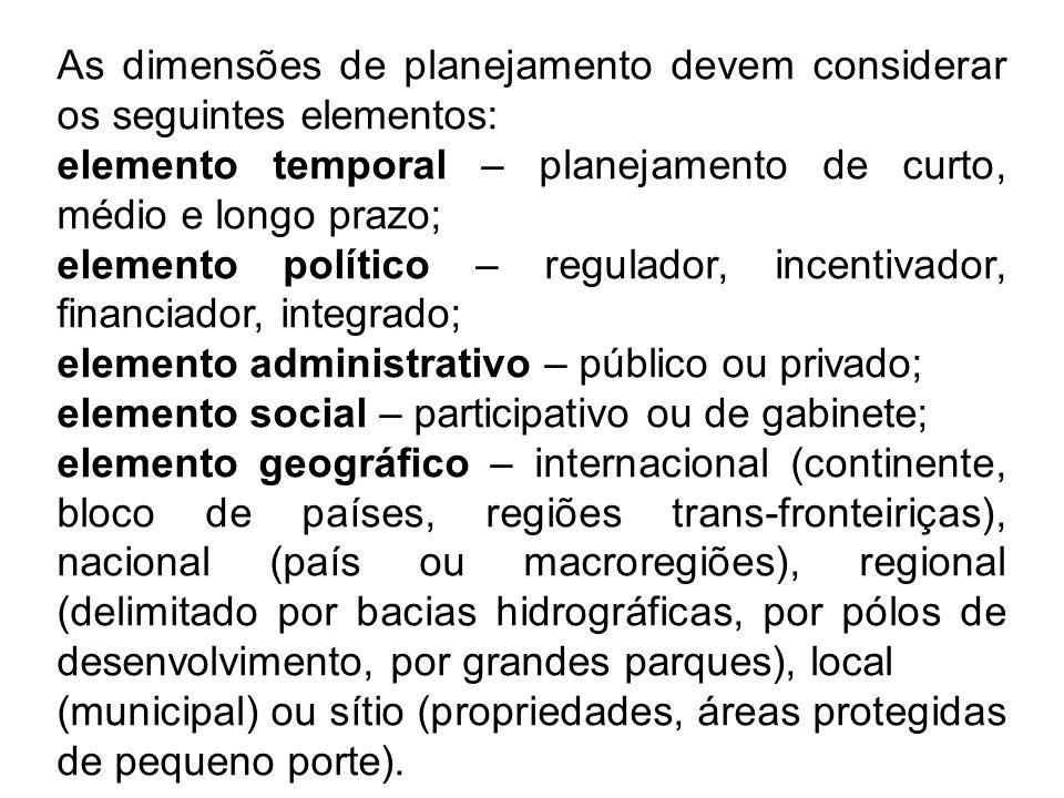 As dimensões de planejamento devem considerar os seguintes elementos: elemento temporal – planejamento de curto, médio e longo prazo; elemento polític