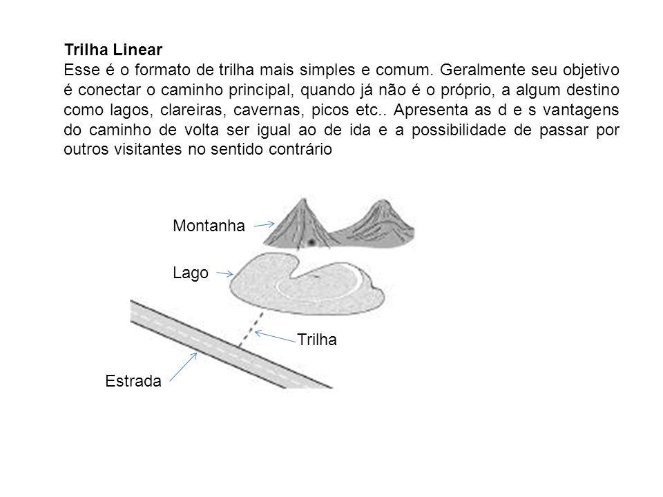 Trilha Linear Esse é o formato de trilha mais simples e comum. Geralmente seu objetivo é conectar o caminho principal, quando já não é o próprio, a al