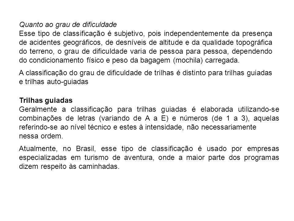 Em 1997 a Free Way Adventures, uma das maiores operadoras do Brasil, adotava a seguinte classificação: Intensidade: A – Leve B – Regular C – Semi-pesada Quanto ao nível técnico: 1 - Fácil 2 - Com obstáculos naturais 3 - Exige habilidade específica Nos Estados Unidos, o Mountain Travel (1985) considera o seguinte: Intensidade: 1 - Fácil 2 - Moderada 3 - Difícil Quanto ao nível técnico: A - Fácil, é necessário apenas boa saúde.