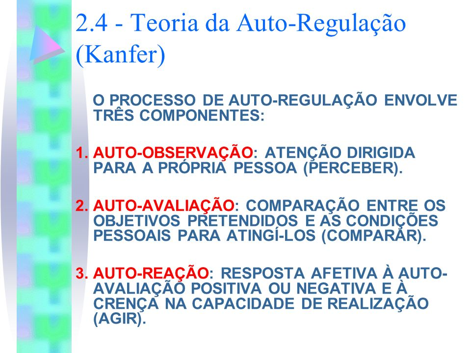 2.4 - Teoria da Auto-Regulação (Kanfer) O PROCESSO DE AUTO-REGULAÇÃO ENVOLVE TRÊS COMPONENTES: 1.AUTO-OBSERVAÇÃO: ATENÇÃO DIRIGIDA PARA A PRÓPRIA PESS