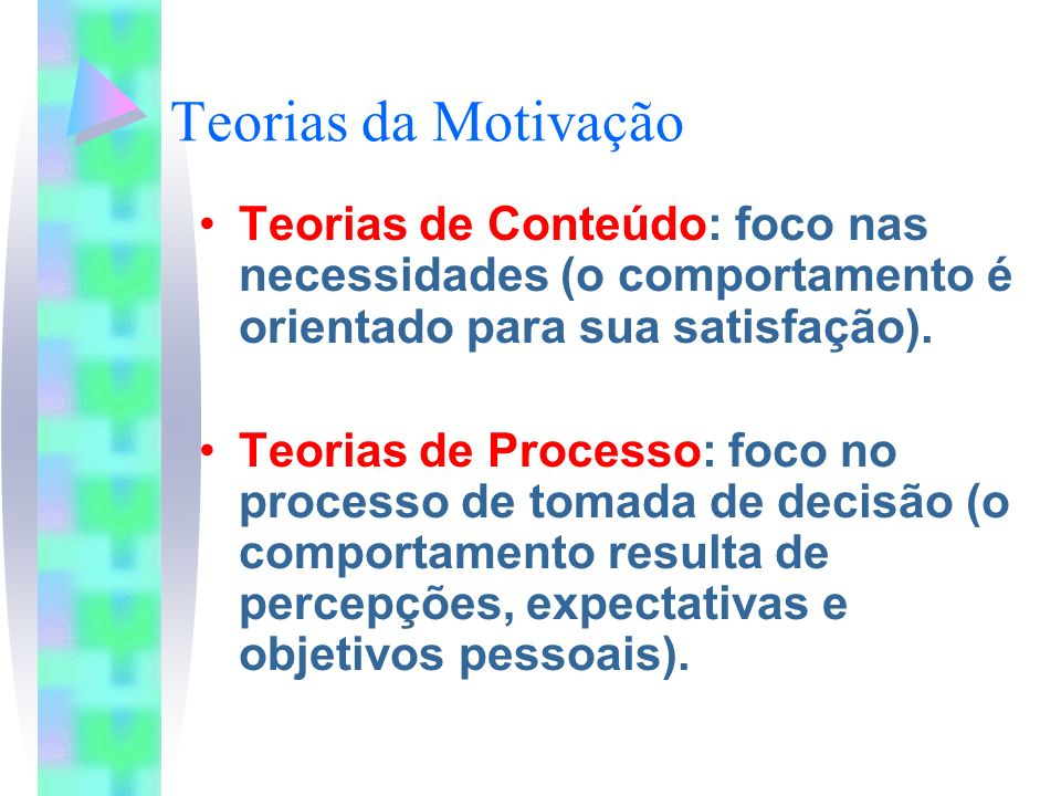 Teorias da Motivação Teorias de Conteúdo: foco nas necessidades (o comportamento é orientado para sua satisfação). Teorias de Processo: foco no proces